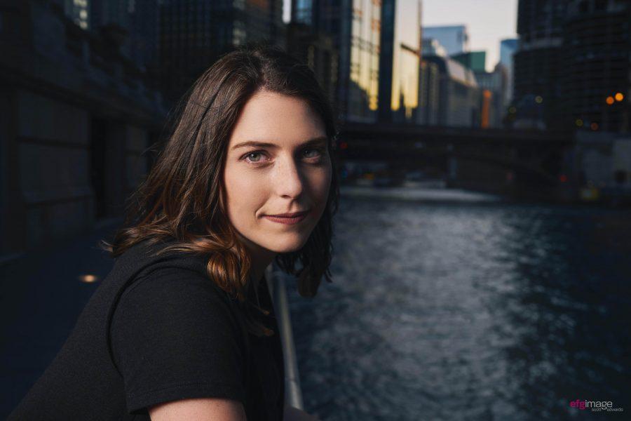 Beautiful girl on river